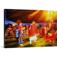 Premium Thick-Wrap Canvas entitled Native American pow wow at the Omak Rodeo,Washington,USA - Multi-color