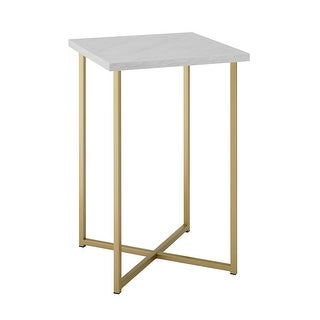 """Offex 16"""" Glam Accent Square Side Table with White Marble Top and Gold Legs"""