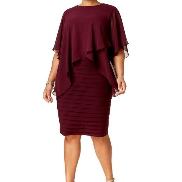 Betsy & Adam Red Women's Size 22W Plus Chiffon Popover Dress
