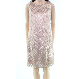 Vince Camuto Gold Womens Size 10 Geo-Sequined Mesh Sheath Dress
