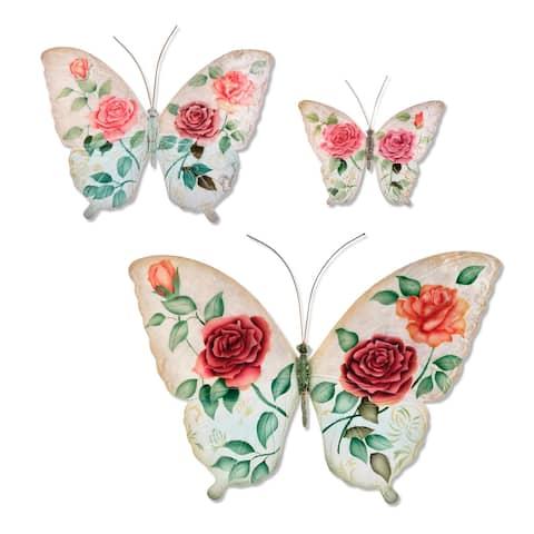 Butterflies White and Pink Set Of Three Garden Decoration - 1 x 18 x 13