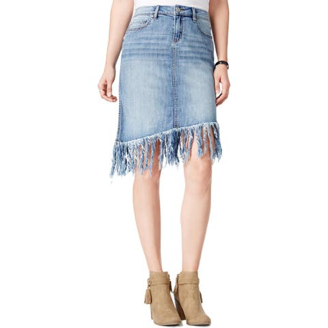 William Rast Womens Denim Skirt Asymmetrical Fringe - 26