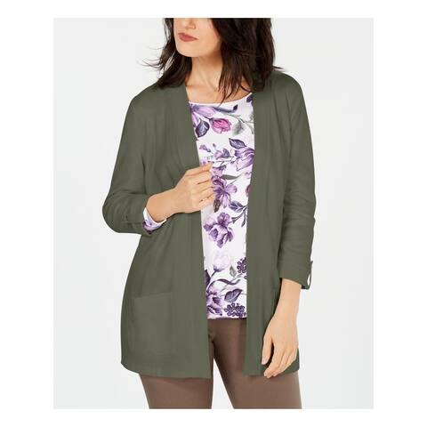 KAREN SCOTT Womens Green Long Sleeve Open Cardigan Sweater Size S