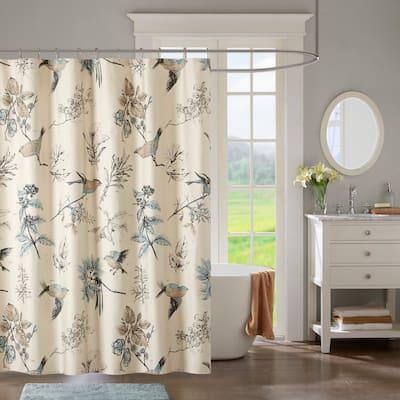 The Gray Barn Mission Creek Khaki Printed Cotton Shower Curtain
