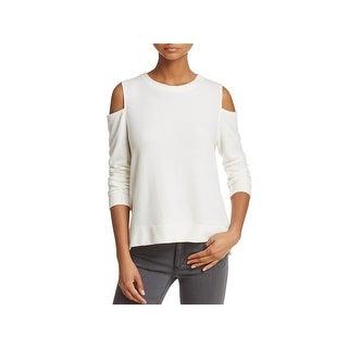 Velvet Womens Sweater Solid Cold Shoulder