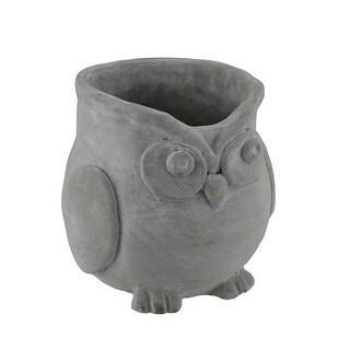 Raw Finish Sculptural Cement Owl Planter 7 1/2 Inch Diameter