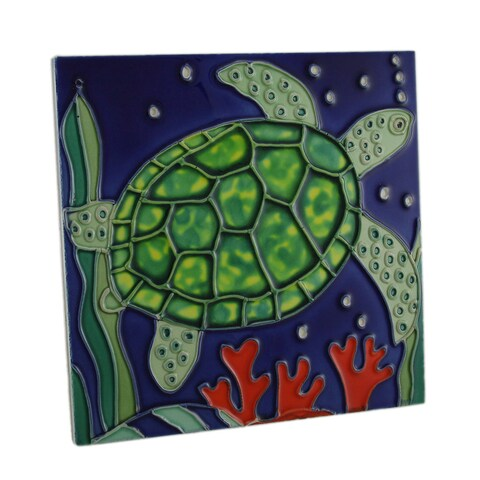 Green Sea Turtle Ceramic Standing Tabletop Tile or Wall Hanging 8 Inch