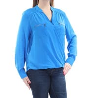 INC Womens Blue Pocketed Cuffed V Neck Faux Wrap Top  Size: 12