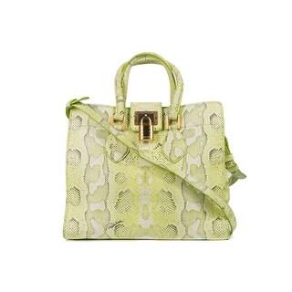 Cavalli Womens Green Snakeskin Leather Medium Florence Bag