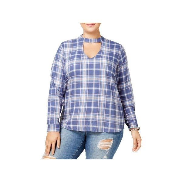 f6ad1237 Shop No Comment Womens Plus Choker Top Plaid Cuff Sleeves - Free ...