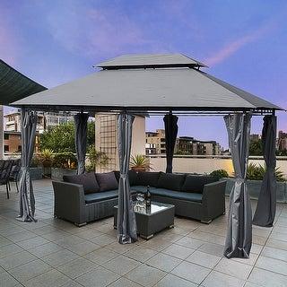 Link to Outsunny 2-tier Grey Outdoor Garden Gazebo with Removable Curtains Similar Items in Gazebos & Pergolas
