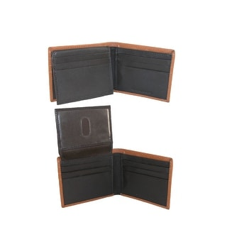 CTM® Men's Leather RFID Protected Bilfold Wallet with Flip Up Passcase - One Size