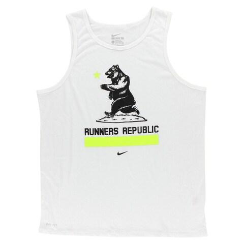 Nike Mens Runners Republic T Shirt White - white/black/florescent green - XL