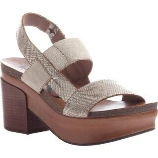 OTBT Women's Indio Block Heel Slingback Sandal Gold Leather/Polyurethane