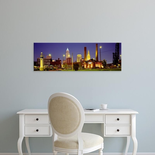 Easy Art Prints Panoramic Images's 'Buildings Lit Up At Night, Cleveland, Ohio, USA' Premium Canvas Art