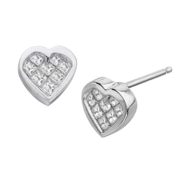 1/4 ct Diamond Heart Earrings in 10K White Gold