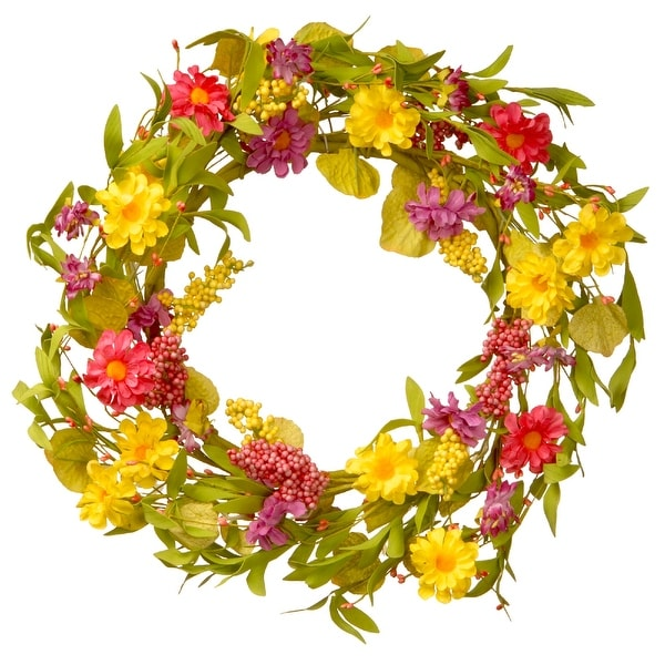Yellow and Pink Spring Florals Artificial Wreath - 20-Inch - N/A