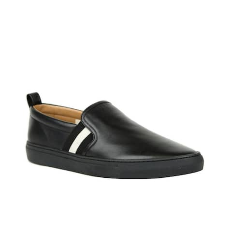Bally Men's Black Calf Leather Slip On Shoes with Black White Herald-200