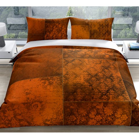 ECLECTIC BOHEMIAN PATCHWORK RUST Duvet Cover by Kavka Designs