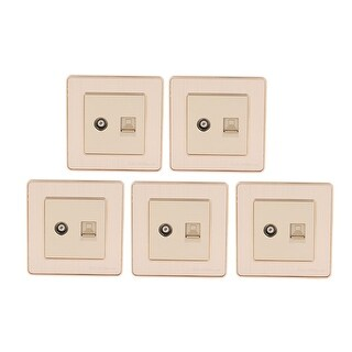 Compter + Cable TV 2 Port Socket Outlet Wall Plate Green Golden Tone 5Pcs