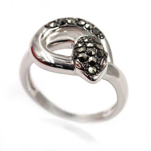 14k Gold and Sterling Silver Marcasite Ring