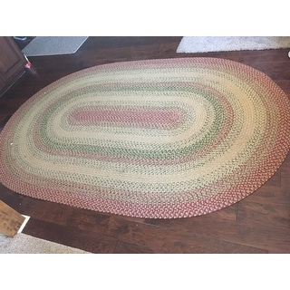 Safavieh Hand-woven Reversible Rust/ Ivory Braided Rug (6' x 9' Oval)
