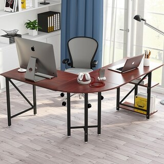 "Large L-Shaped Desk 67"" Modern Corner Computer Desk Study Workstation Gaming Table with Shelves for Home Office"