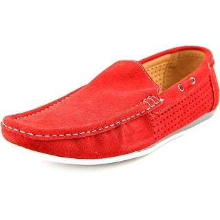 Famous Name Brand Austin 2 Men Moc Toe Suede Red Loafer