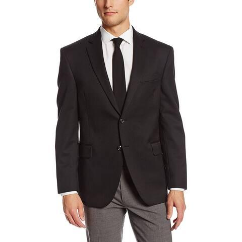 Palm Beach Mens Blazer Jacket Black Size 50L Notch Lapel 2 Button