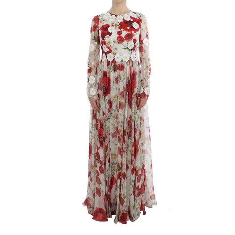 Dolce & Gabbana Dolce & Gabbana Roses Silk Applique Long Maxi Gown Dress - it40-s