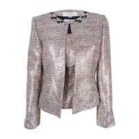 Tahari Women's 'Maurice' Metallic Jewel-Trim Top and Blazer Set - silver/blush/black