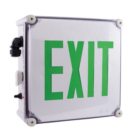 "Elco EE22 11"" Wide Weatherproof LED Exit Sign - - White / Green"