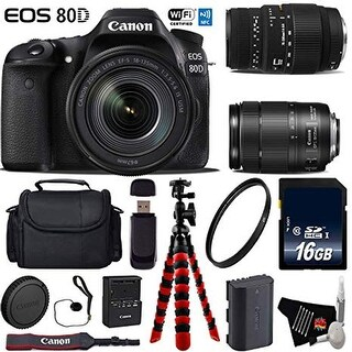 Canon EOS 80D DSLR Camera with 18-135mm is STM Lens & Sigma 70-300mm Macro Lens + Flexible Tripod + Card Reader - Intl Model