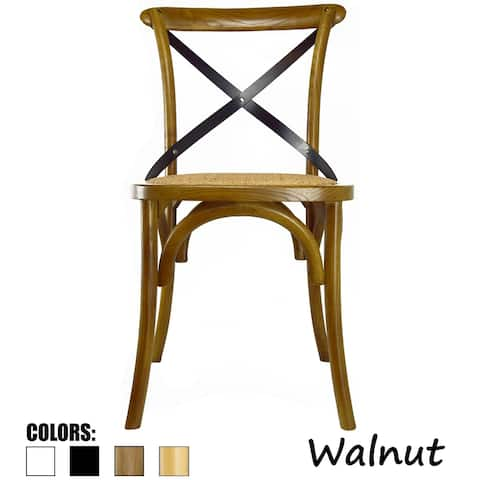 Mid Century Modern Contemporary Antique Style Cross Back X Open Wooden Frame Dining Accent Wood Chairs