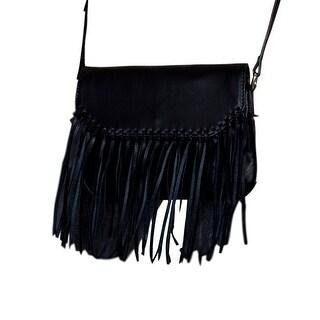 Scully Western Handbag Womens Small Cross Body Fringe Flap Black B84 - One size