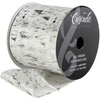 "Cascade Satin Ribbon W/Wired Edge 4""X20yd-White W/Silver & Pewter Birch Pattern"