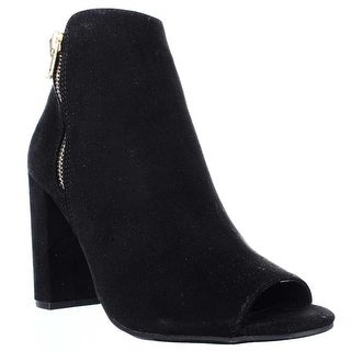 Material Girl MG35 Carena Peep Toe Double Zip Ankle Boots - Black - 6.5