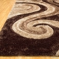 AllStar Rugs Coco Shaggy Area Rug with 3D Brown Spiral Design. Contemporary Formal Casual Hand Tufted (5' x 7') - Thumbnail 3