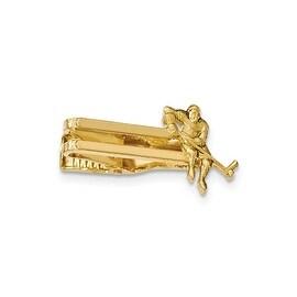 Goldtone Polished Hockey Player Tie Bar