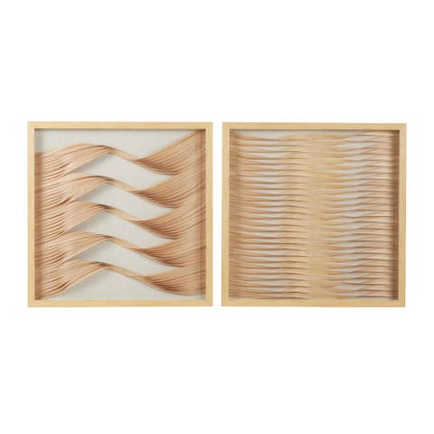 """23.5"""" Square Framed Beige and Natural Wood Ribbon Shadow Boxes Wall Art Set of 2"""