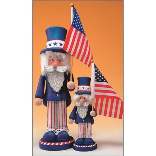 "11"" Zims Heirloom Collectibles Patriotic Uncle Sam Christmas Nutcracker - WHITE"