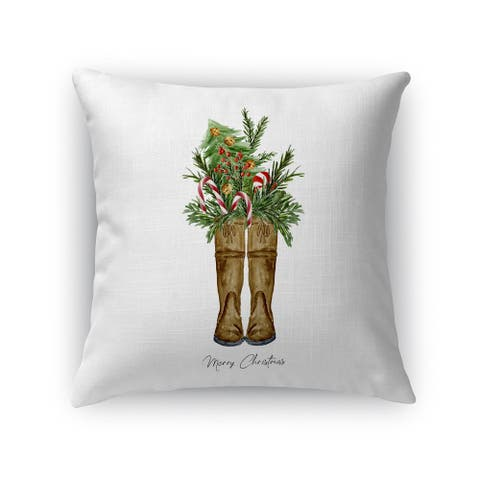 MERRY CHRISTMAS BOOTS Accent Pillow By Terri Ellis