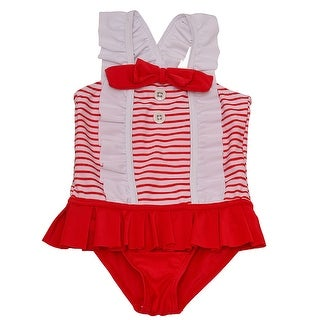 Solo International Baby Girls Red White Bow Ruffle Stripes Swimsuit 18M