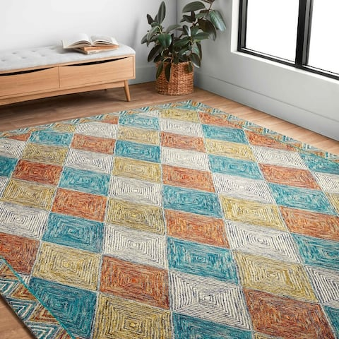 Alexander Home Kaleidoscope Diamond Hand-Hooked Wool Rug