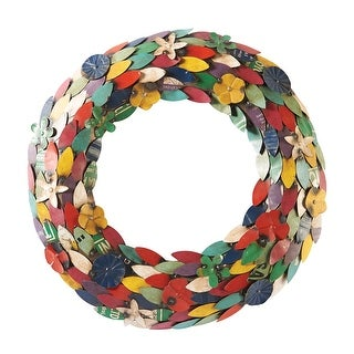 Art & Artifact Recycled Metal Wreath - Multicolor Flower Petals and Leaves - 24 in.