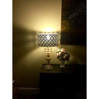 Jeweled Blossoms Champagne Glass and Metal 24-inch Table Lamp