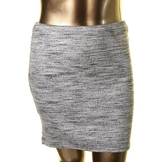 Three Dots Womens Pull On Marled Straight Skirt