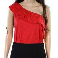 Harlowe & Graham Red Womens Size Small S Ruffled Bodysuit Blouse
