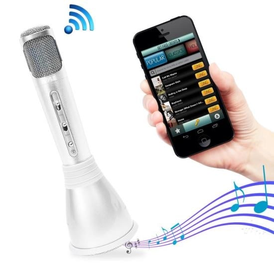 Bluetooth Karaoke Microphone Speaker System with Wireless Megaphone-Style Mic Broadcasting
