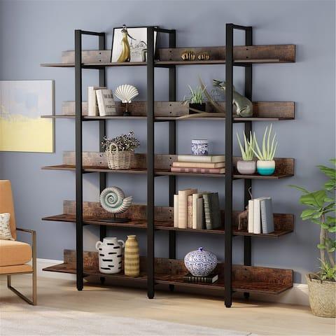 Rustic Triple Wide 5-Tiers Open Bookcase